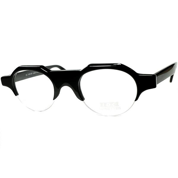 英仏OLD DESIGN極上マリアージュ 1980s デッドストック FRAME FRANCE フランス製 IDC クラウンパント 型 ナイロールブロータイプ BLACK 眼鏡 ヴィンテージ ビンテージ 眼鏡メガネ a7418