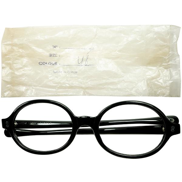 必携デイリーユース向け 安定BASIC貴重個体1960s フランス製 デッドストック FRAME FRANCE 六角星ヒンジ OVALラウンド 丸眼鏡 size48 BLACK ビンテージヴィンテージ 眼鏡メガネ a7443