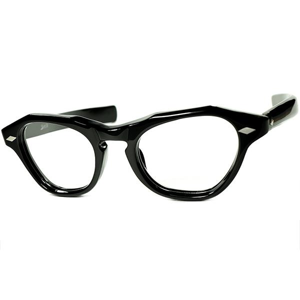 圧巻迫力xハイレベル造形1950s-60s フランス製 デッドストック FRAME FRANCE フレーム フランス by selecta 8mm BLACK極厚 FOX系 KEYHOLE ウェリントン 極太TEMPLE size46/20 ビンテージヴィンテージ 眼鏡メガネ a7446