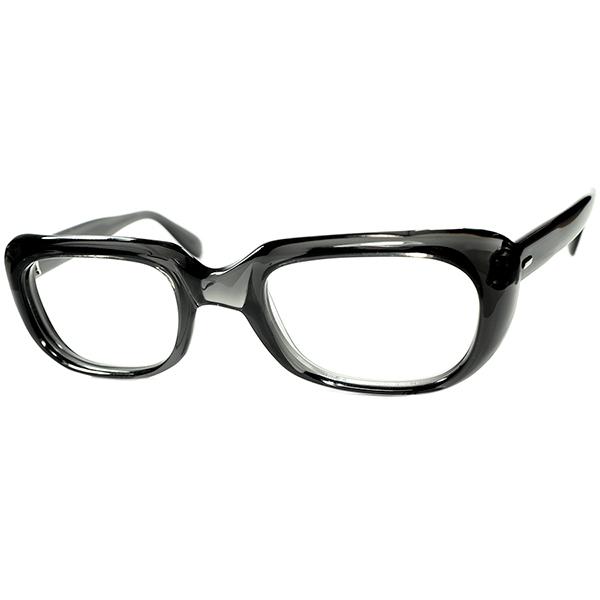 圧巻TOPクオリティxRARE生地 1960sフランス製 デッドストック FRAME FRANCE 球状面取り SQUARE系 肉厚ウェリントンBLACK CRYSTAL size50/24 ビンテージヴィンテージ 眼鏡メガネ a7469