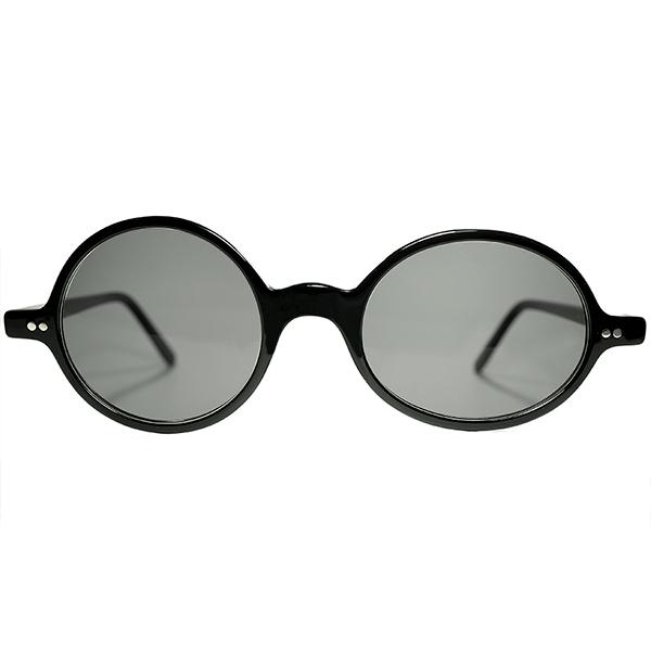 挑発的 CRAZY LOOK 鬼RARE アーカイブピース 1970s ENGLAND製 デッドストック CUTLER AND GROSS カトラー アンド グロス 左右非対称 BLACK ROUND 丸眼鏡 丸メガネ ビンテージヴィンテージ 眼鏡メガネ a7488