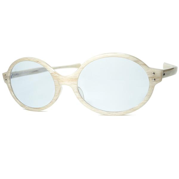 鋭角BONE LOOK稀少生地1960s USA製 デッドストック AMERICAN OPTICAL アメリカンオプティカル AO オーバルラウンド サングラス 日本製オールド物ブルーガラスレンズ入 ビンテージヴィンテージ 眼鏡メガネ a7503