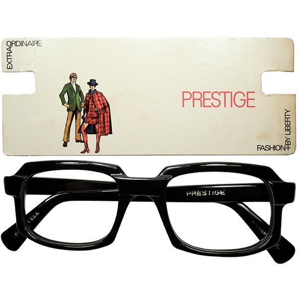 珠玉アメリカンBLACKフレーム 1960s デッドストック USA製 LIBERTY プレステージ 最大7mm極厚BLACK スクエア ウェリントン size52/21 ビンテージヴィンテージ 眼鏡メガネ a7525