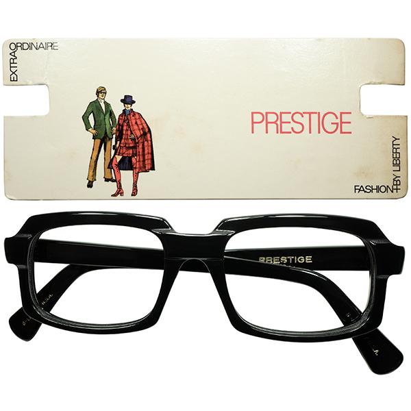 SMART x STYLISH 富裕層向けゴツグロ 1960s極上デッドストック USA製 LIBERTY プレステージ 最大7mm極厚BLACK スクエア ウェリントン size52/19 ビンテージヴィンテージ 眼鏡メガネ a7526