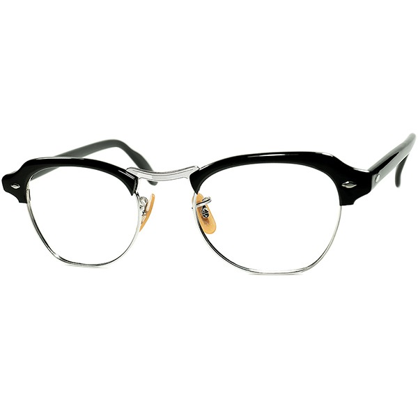 ブロータイプ黎明期 オールド激渋CLASSIC STYLE 1940s-50s 年末年始大決算 USA製 BL ボシュロム ダイヤ鋲 サーモント a7519 size46 眼鏡#160;メガネ BLACK 供え 20 ビンテージ#160;ヴィンテージ 12KGF金張 10 1