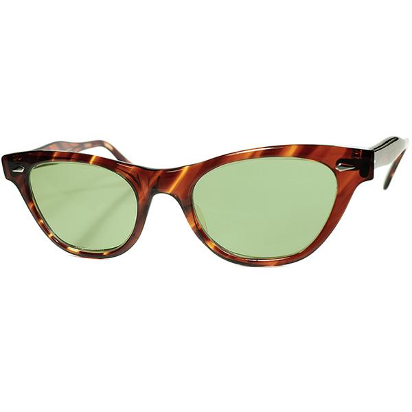 USゴールデンエイジ感MAX 激レアモデル1960s USA製 AO アメリカンオプティカル AMERICAN OPTICAL ダイヤ鋲 流線型ウェリントン サングラス ビンテージ ヴィンテージ 眼鏡 メガネ a7784