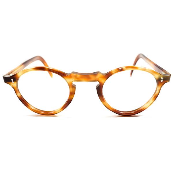 GOOD SIZE&CLEAN 1950s デッドストック フランス製 MADE IN FRANCE ボストン型 ラウンドパント 鼈甲柄 ヴィンテージ メガネ 眼鏡 A2303