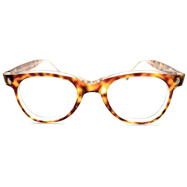 芸術的 ハイスペック 1950s FRANCE製 MADE IN FRANCE 縦型ダイヤヒンジ AMBER SMOKE 肉厚 ウェリントン パントフレーム PANTO ヴィンテージ メガネ 眼鏡 A2304