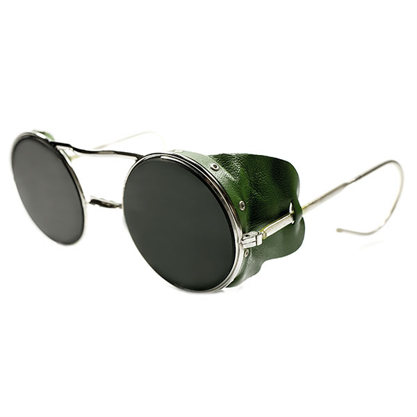 超希少 デッドストック 1940s 英国製 MADE IN ENGLAND 老舗HADLEY GREEN LEATHER GUARD ROUND FLATガラスレンズ入 ビンテージヴィンテージ 眼鏡メガネ 丸眼鏡 サングラス イギリス UK A2530