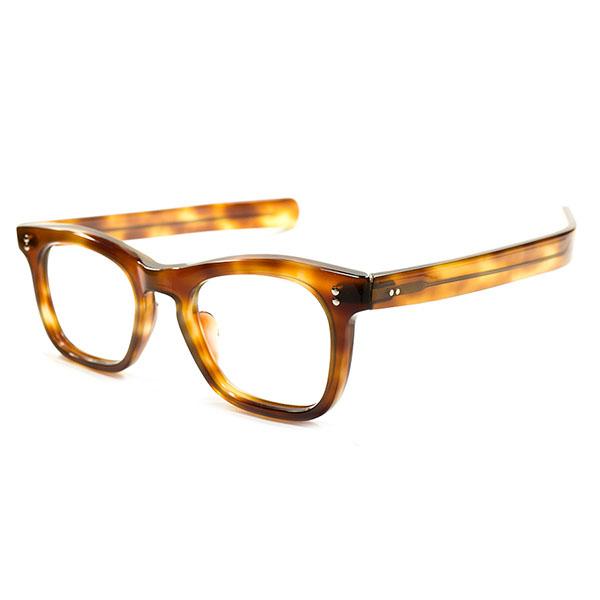 優秀SHAPE オールラウンド デッドストック 1950s FRAME FRANCE フランス製 MADE IN FRANCE 極太ストレートTEMPLEx肉厚FRONT ウェリントン AMBER ヴィンテージ メガネ 眼鏡 A2535