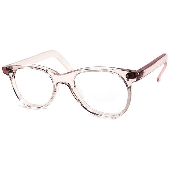 超GOOD SIZE デッドストック 黄金期 1940s フランス製 MADE IN FRANCE OLD芯なしテンプル 6mm厚 ウェリントンFRESH PINK ビンテージヴィンテージ 眼鏡メガネ A2537