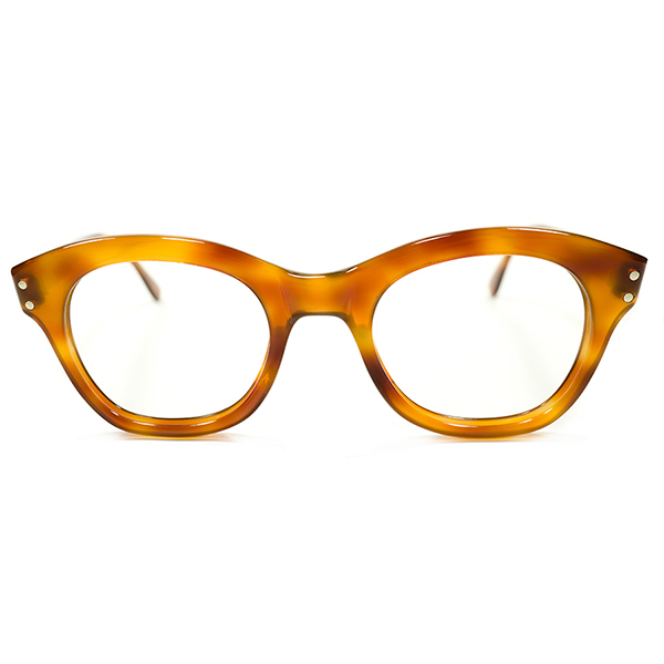 GOODカラー+超GOOD SIZE デッドストック 1950s フランス製 MADE IN FRANCE HONEY AMBER ウェリントンPANTO ヴィンテージ メガネ 眼鏡 A2791