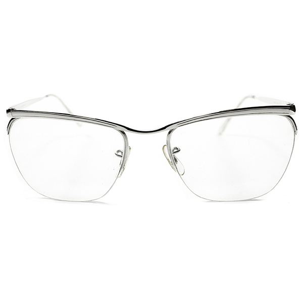 超ハイクオリティ EXCULSIVE デッドストック 1950s-1960s 英国製 MADE IN ENGLAND アルガ ALGHA WHITE GOLD本金張り ナイロール AMOR TYPE ヴィンテージ メガネ 眼鏡 イギリス UK A2806