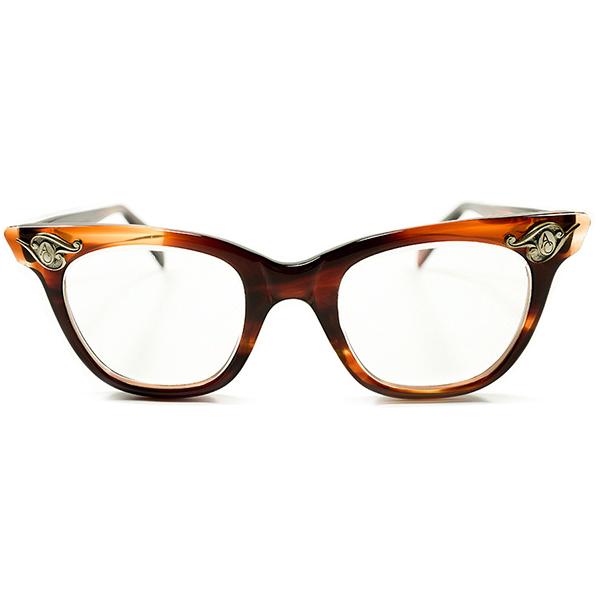 US解釈アールデコSTYLE 1950s USA製 MADE IN USA アメリカンオプティカル AO AMERICAN OPTICAL ART DECOヒンジ 鼈甲柄 オリジナルガラスレンズ入 ウェリントン size44/20 ヴィンテージ メガネ 眼鏡 A2904
