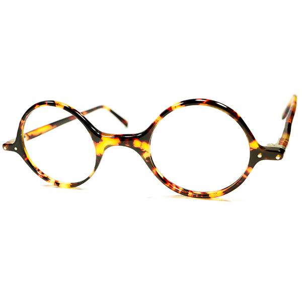 超希少 デッドストック CLASSIC 1930s-1940s 英国製 MADE IN ENGLAND セルロイド 鼈甲柄 OLD芯なしテンプル 極細RIM ラウンドフレーム ヴィンテージ メガネ 丸眼鏡 アンティーク A2918