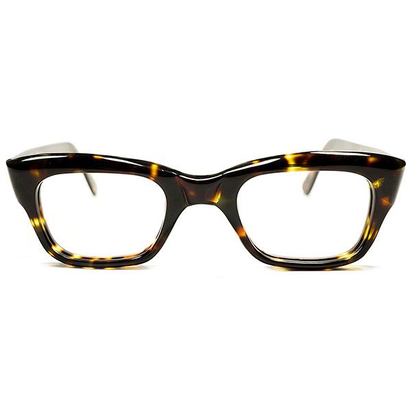 44/24超GOOD SIZE&高精度 1960s デッドストック 英国製 MADE IN ENGLAND マイケルケインSTYLE ミニマル ウェリントン 鼈甲柄 ヴィンテージ メガネ 眼鏡 A3057