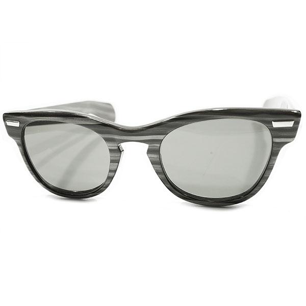玄人 激渋ALL GREYサングラス仕様 1950s アメリカ製 MADE IN USA シュロン SHURON RONDEAN 極太テンプル ウェリントン CHARCOAL WOOD ヴィンテージ メガネ 眼鏡 A3191