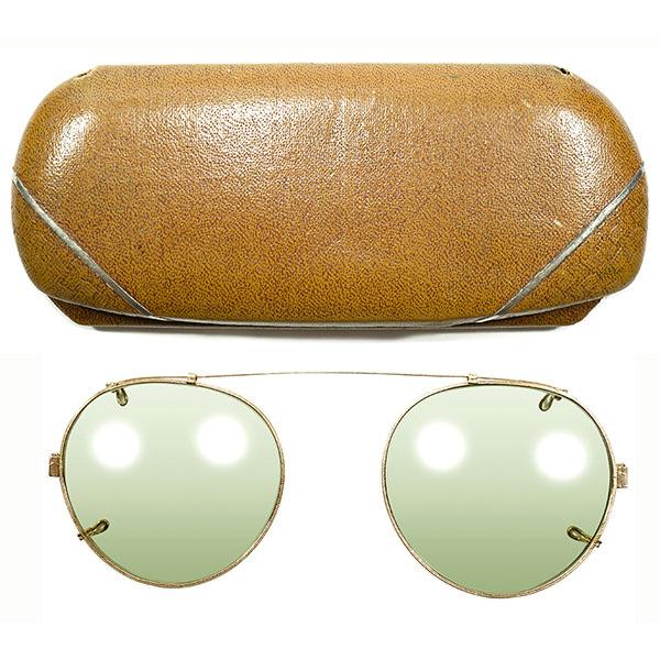 EARLYケース付 1930s アメリカ製 MADE IN USA ボシュロム B&L BAUSCH LOMB 1/10 12KGF本金張 GOLD 彫金 ラウンド型 クリップオンサングラス CLIP-ON ヴィンテージ メガネ 眼鏡 A3562