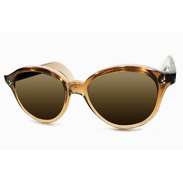 圧巻9mm極厚フロント デッドストック 1940s フランス製 MADE IN FRANCE 3DOTヒンジ 芯なしOLDテンプル仕様 BROWN SMOKE パント型 サングラス オリジナルブラウンガラスレンズ ヴィンテージ メガネ 眼鏡 A3627