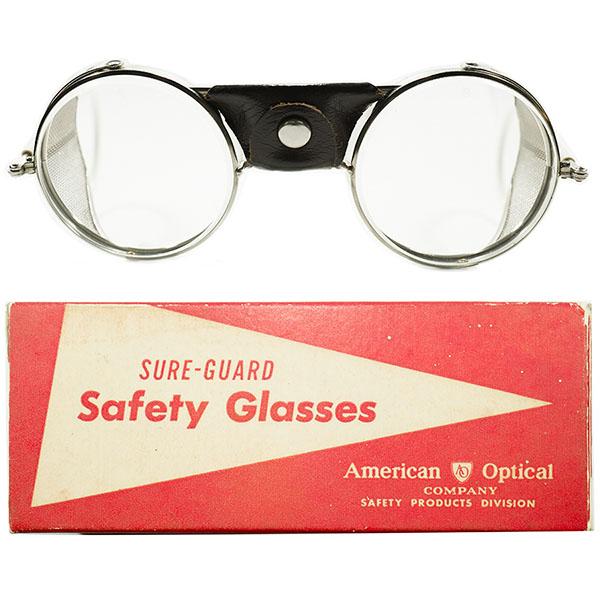 超希少コンビネーション デッドストック 1930s-1940s USA製 MADE IN USA アメリカンオプティカル AO AMERICAN OPTICAL レザー×メッシュサイドガード 逆折畳テンプル 砂打入オリジナルガラスレンズ入 ビンテージヴィンテージ 眼鏡メガネ  A3664