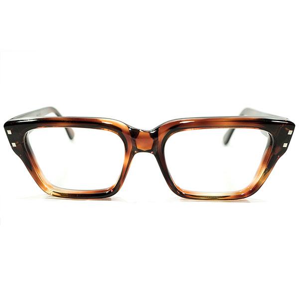 ハイクオリティ実用的 GOOD SIZE デッドストック 1960s フランス製 MADE IN FRANCE 6mm肉厚フロント Wダイス 鼈甲柄 ウェリントン ヴィンテージ メガネ 眼鏡 A3690