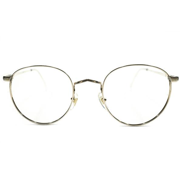 HIGH QUALITY 1960s フランス製 MADE IN FRANCE MOREL 本金張 彫金模様 FUL-VUE STYLE パント型ラウンド ROUND ヴィンテージ メガネ 丸眼鏡 アンティーク A3694
