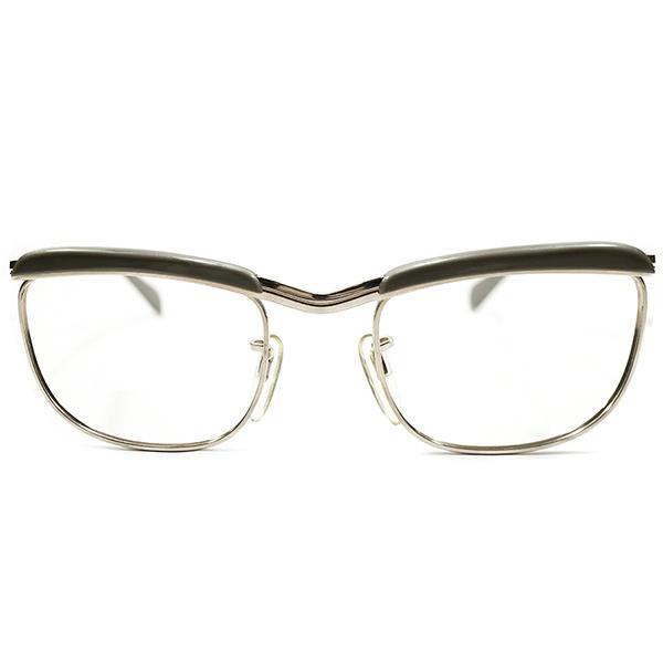 質実剛健激シブカラー デッドストック 1950s-1960s 西ドイツ製 MADE IN WEST GERMANY 本金張りゴールドメタル×SILKYグレージュ RODENSTOCK STYLE ブローフレーム ビンテージヴィンテージ 眼鏡メガネ 丸眼鏡 アンティーク A3696