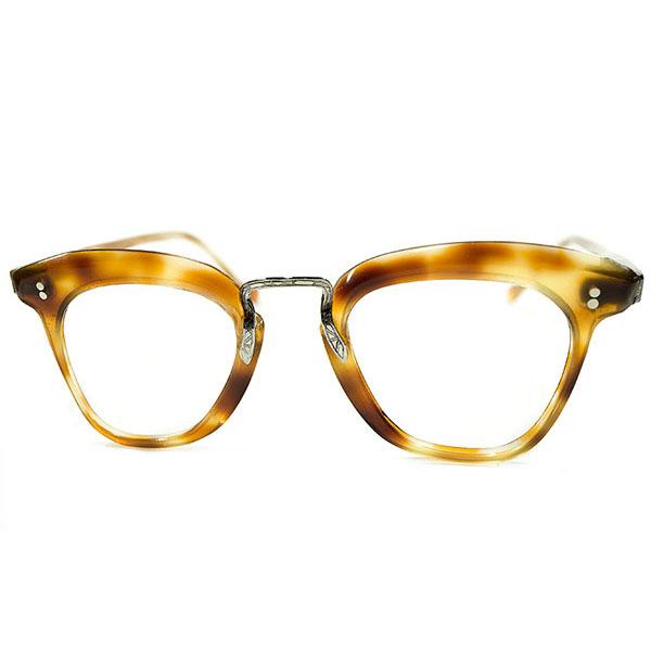 新機軸LUXURYデザイン デッドストック 1940s フランス製 MADE IN FRANCE 彫金ブリッジ仕様 FLATフロント&傾斜ブローライン 鼈甲柄 PANTO パントフレーム ビンテージヴィンテージ 眼鏡メガネ 丸眼鏡 アンティーク A3707