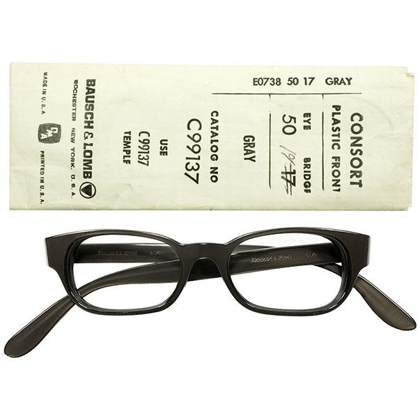 日本人向けFITS ALLサイズ設計 袋付デッドストック 1960s USA製 B&Lボシュロム BASIC ウェリントン型 CONSORT チャコールグレー ビンテージヴィンテージ 眼鏡メガネ size50/17 a5509