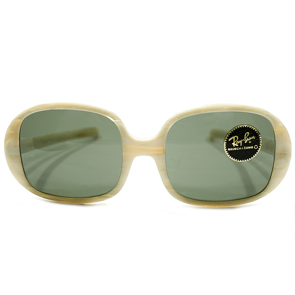 MID CENTURY DESIGN ステッカー付き デッドストック 1960s-1970s アメリカ製 MADE IN USA BAUSCH&LOMB B&L ボシュロム RAYBAN レイバン 象牙調IVORY スクエア×ラウンド ヴィンテージ 眼鏡 サングラス オリジナルレンズ入 A3744