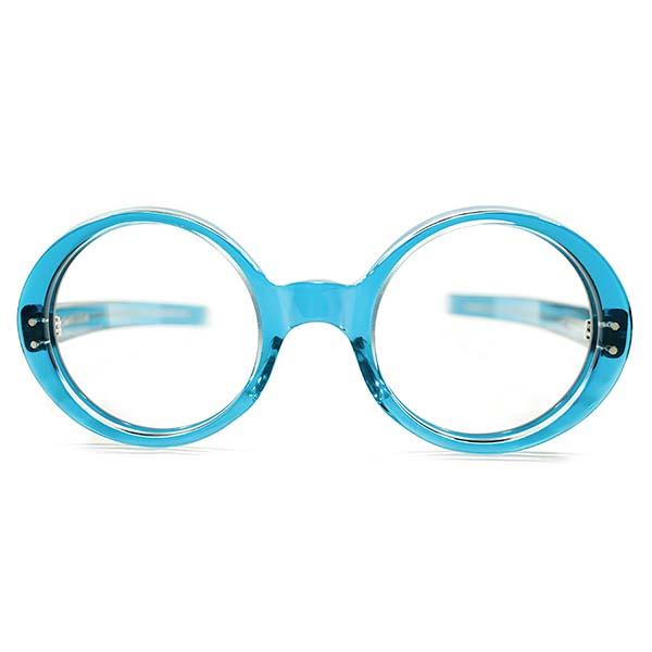 要注目デッドストック1960sOLIVER GOLDSMITHオリバーゴールドスミス重要作品GOO GOO完全同型 1960s英国製エメラルドBLUE SMOKE肉厚ラウンド44/22眼鏡