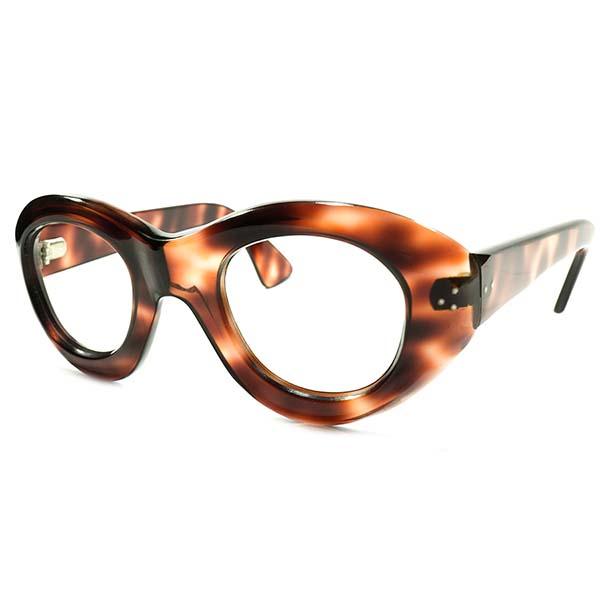 黄金期アバンギャルド&極上スペック デッドストック 1940s-1950s フランス製 HANDMADE 芯なしテンプル 極太リム 3DOT 鼈甲柄 パントフレーム size42/25 ヴィンテージ メガネ 眼鏡 A3828