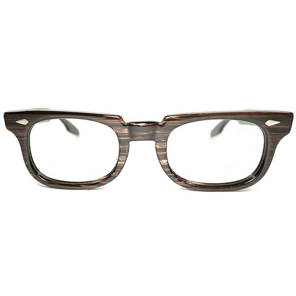ダイヤヒンジRAREモデル size 44/22 デッドストック 1960s アメリカ製 MADE IN USA アメリカンオプティカル AMERICAN OPTICAL AO CHECK MATE ROSE WOOD ウェリントン ビンテージヴィンテージ 眼鏡メガネ A3839