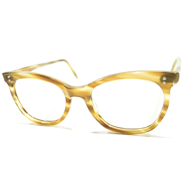 定番実用的DESIGN デッドストック 1960s 英国製 MADE IN ENGLAND 2ドット CLASSIC AMBER ナローウェリントン ビンテージヴィンテージ 眼鏡メガネ 実寸44/18 A3917
