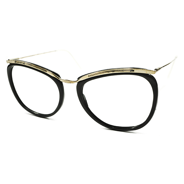 必携BLACK×GOLDカラー デッドストック 1950s フランス製 MADE IN FRANCE アモール AMOR STYLE コンビネーションフレーム 実寸size50/19 ビンテージヴィンテージ 眼鏡メガネ A3943