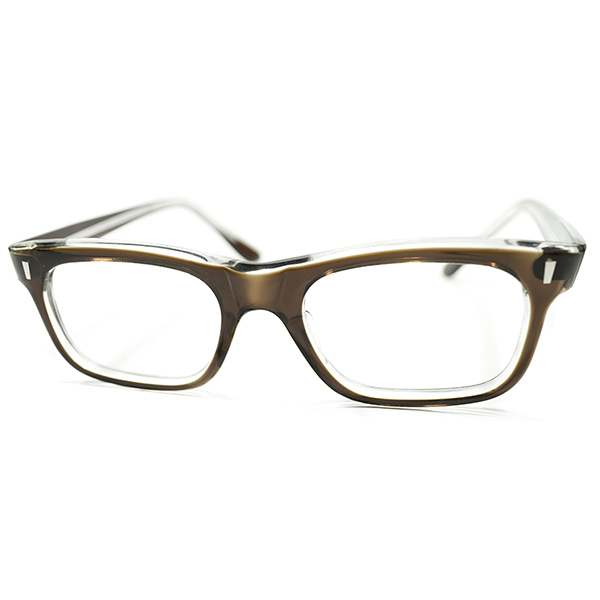 TART OPTICAL STYLE&グッドサイズ デッドストック 1960s フランス製 MADE IN FRANCE BROWN CRYSTAL アッパーブリッジ ウェリントンフレーム size46/20 ヴィンテージ メガネ 眼鏡 A3984