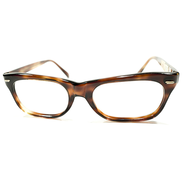 GOOD SIZE デイリーユース向 デッドストック 1960s フランス製 MADE IN FRANCE FLAT CUTTINGテンプル 鼈甲柄 ナローウェリントン size46/18 ビンテージヴィンテージ 眼鏡メガネ A3993