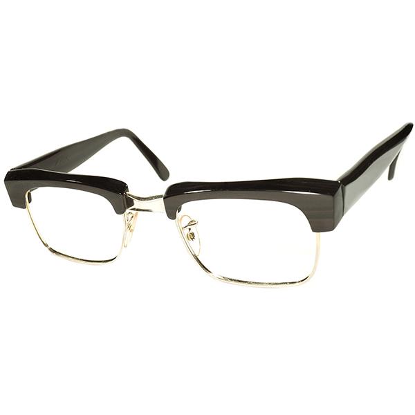 超ハイクオリティ×激渋カラー デッドストック 1960s 英国製 MADE IN ENGLAND アルガ ALGHA 本金張ゴールドメタル×BROWNWOOD コンビネーション 肉厚 ブローフレーム ヴィンテージ メガネ 丸眼鏡 イギリス UK A4126