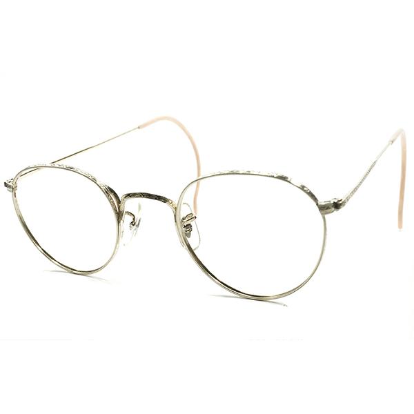 フル彫金DELUXE仕様×超GOODサイズ デッドストック 1930s USA製 MADE IN USA ボシュロム B&L BAUSCH LOMB 1/10 12KGF本金張GOLDメタル NOSE PAD付 ラウンドフレーム ヴィンテージ メガネ 丸眼鏡 A4133