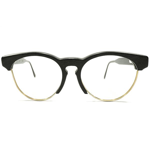 複合的MODERNエッセンス デッドストック 1970s-1980s フランス製 MADE IN FRANCE BURNISHED BLACK リアルウッド KEYHOLEブリッジ ボストン ブローフレーム ビンテージヴィンテージ 眼鏡メガネ A4176