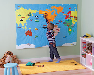 Learning Resources Wonder World Cloth Wall Map 壁掛け世界地図 布製 EI 1830