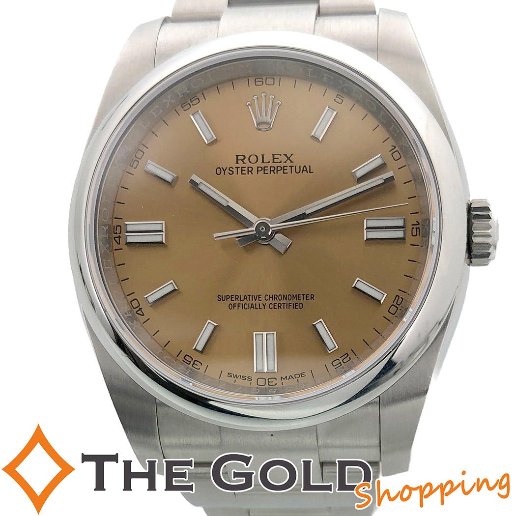 【中古】ロレックス ROLEX オイスターパーペチュアル 116000 2017年 並行 ランダム ブラウン 腕時計 [メンズ 男性用]ギフト プレゼント ご褒美 夏のボーナス ザ・ゴールド 決算SALE