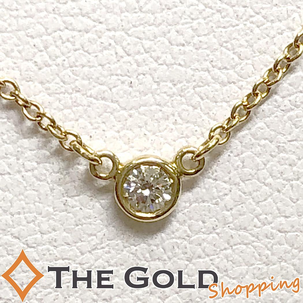 【中古】ティファニー Tiffany&Co. バイザヤード ダイヤネックレス 750YG K18 0.05ct ジュエリー・アクセサリー ネックレス・ペンダント