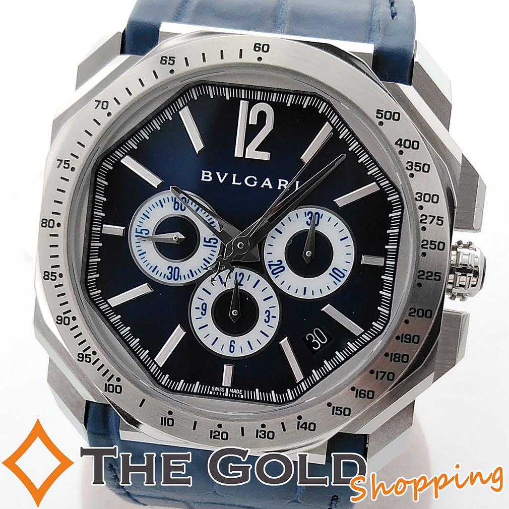 【4/9 20時からポイント2倍!】BVLGARI 限定 オクト ヴェロチッシモ マセラティ BGO41C3SLDCH ブルー 青 ブルガリ マセラッティ 時計 腕時計 メンズ[男性用] 【中古】