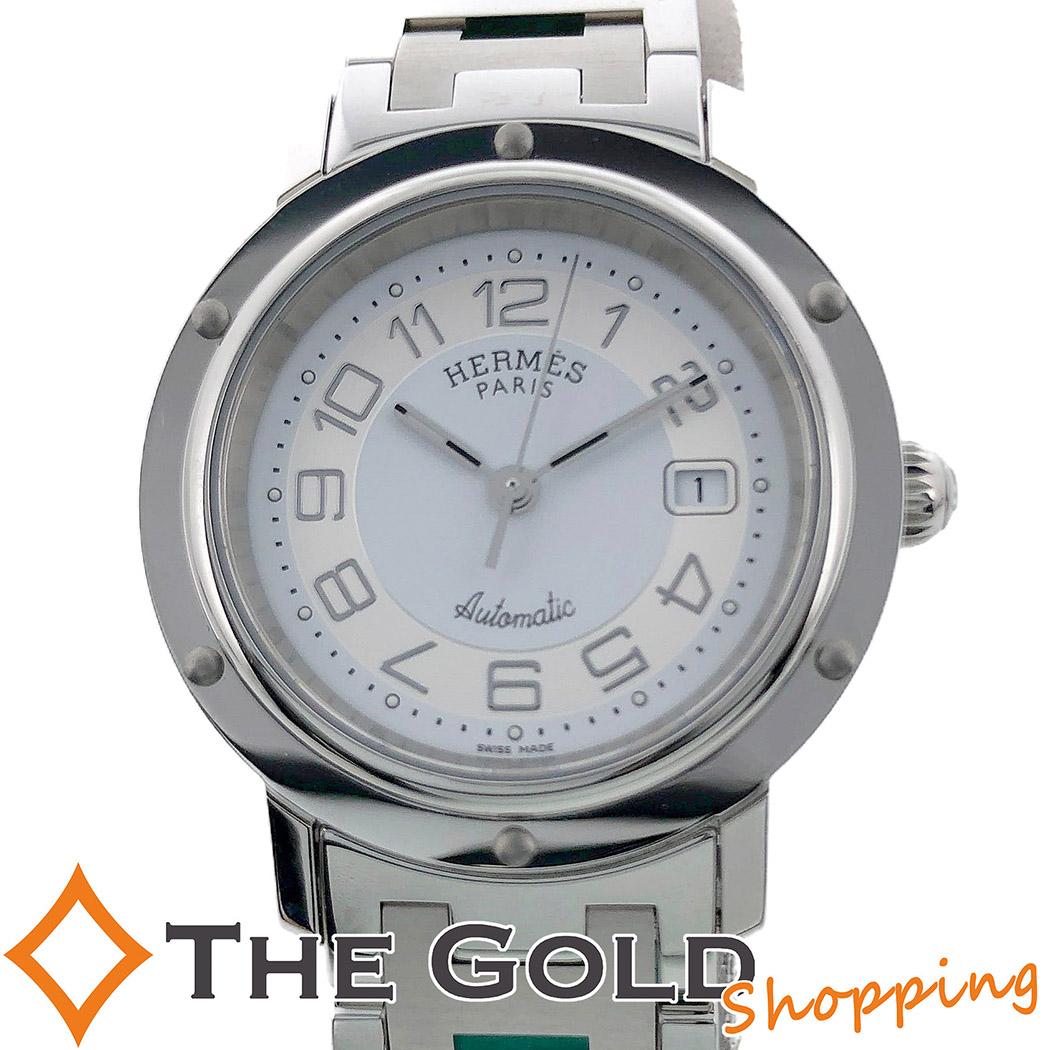 【中古】エルメス HERMES クリッパー AT 白文字盤 自動巻き CL5.410 時計 腕時計 レディース[女性用]