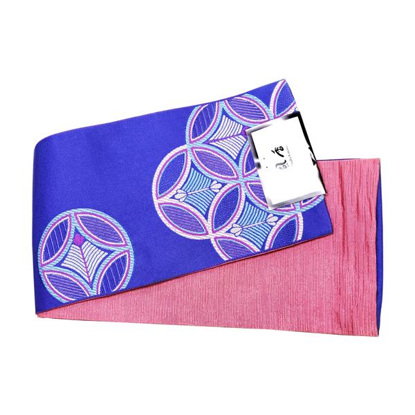 風香半幅帯-吉祥文様5柄・紫瑠璃×桃色