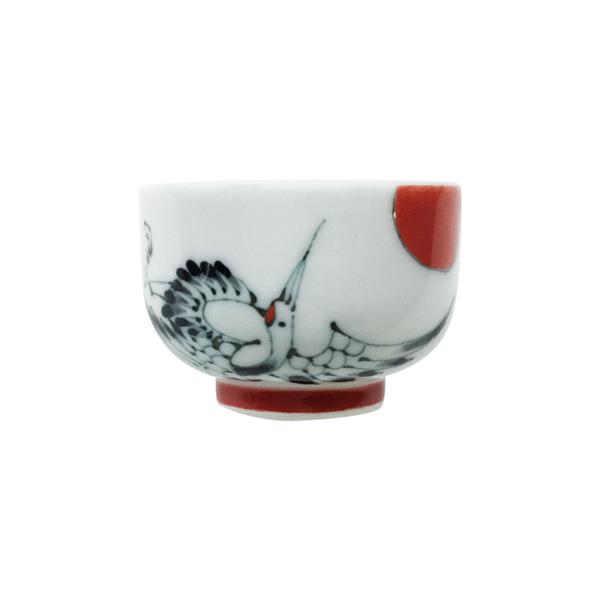 おちょこ 陶器 かわいい 縁起物 手書き 人気の定番 舗 お猪口-鶴 波佐見焼