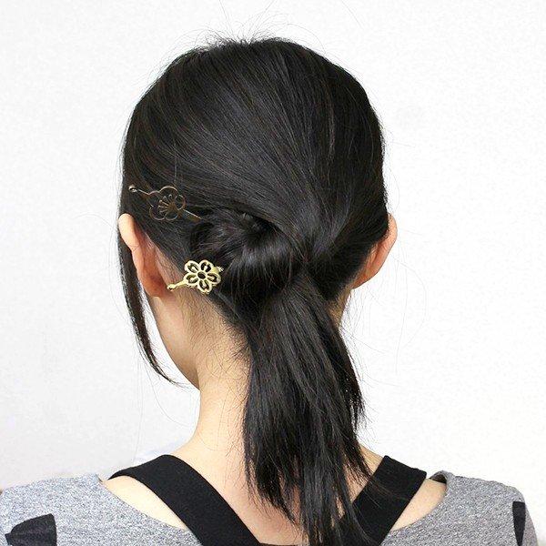 花紋平打一本簪-梅 真鍮