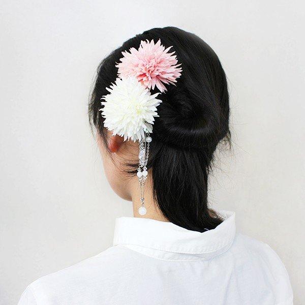 朝露鞠菊一本簪-桃