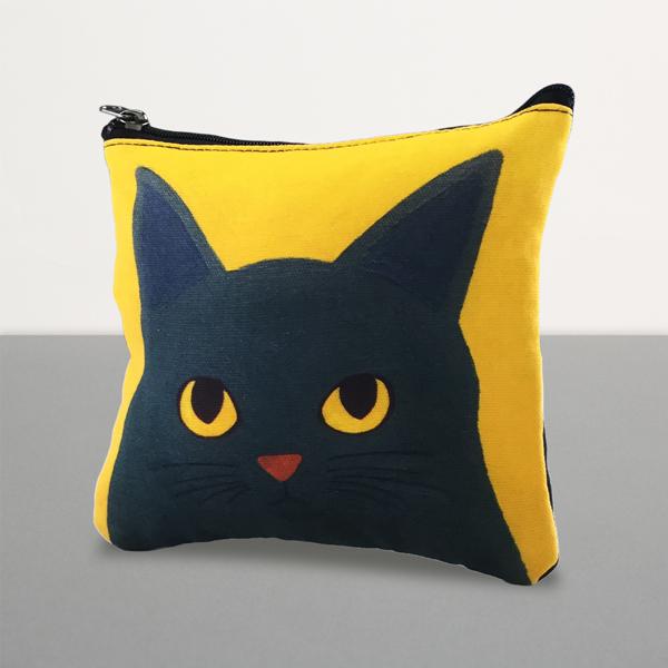 黒猫 猫 ねこ ネコ ポーチ 化粧ポーチ プレゼント かわいい グッズ 豪華な ギフト ダークイエロー 雑貨 猫まっしぐらセレクト セール特別価格 誕生日 猫のポーチ-灰猫 KANNEKO